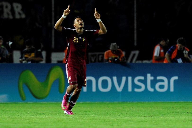 Venezuela's Jose Salomon Rondon celebrates after scoring against Colombia during their Brazil 2014 FIFA World Cup South American qualifier football match, in Puerto Ordaz, Venezuela, on March 26, 2013.  AFP PHOTO / LEO RAMIREZ